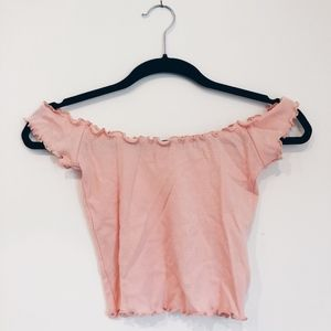 NWT URBAN OUTFITTERS Pink Off the Shoulder CropTop
